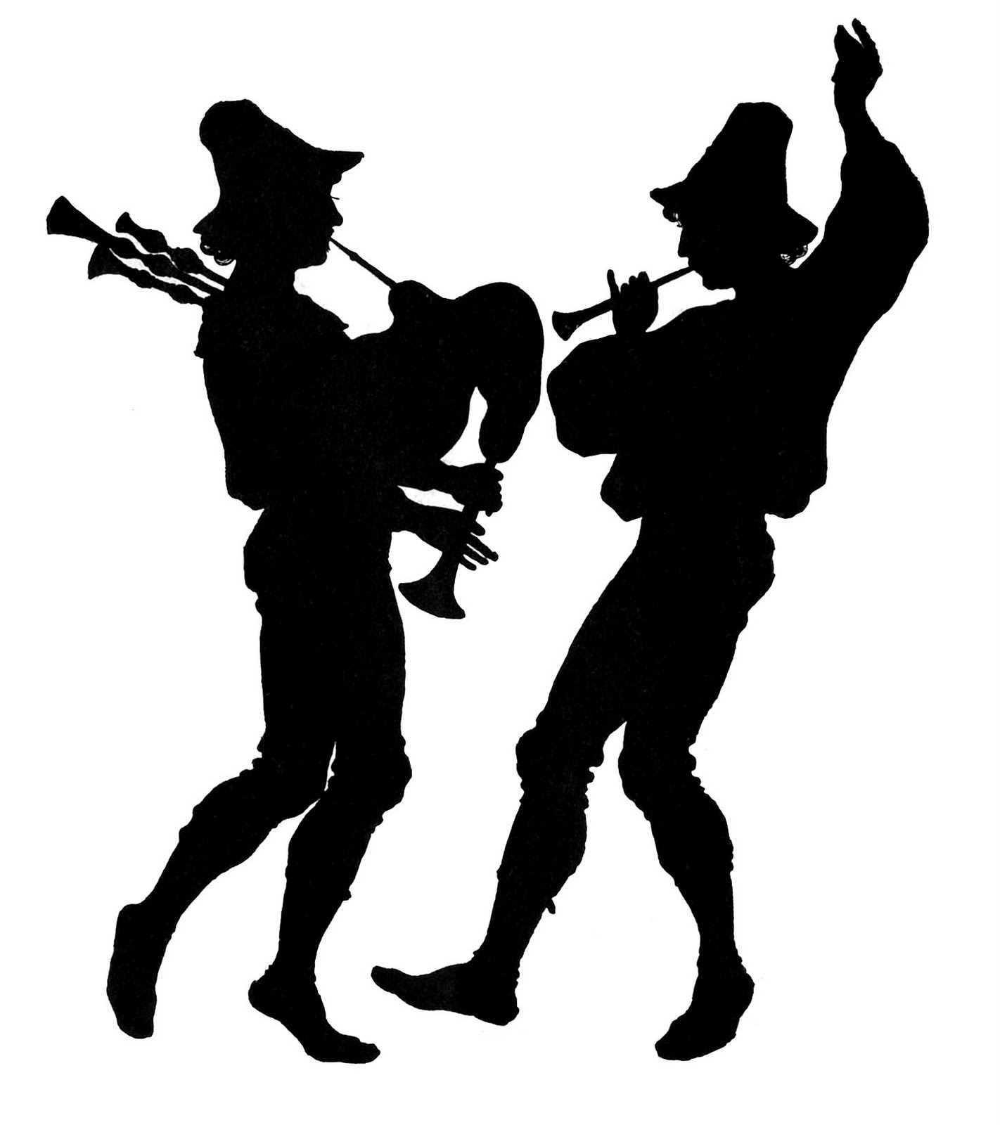 Medieval clipart dancing Silhouette 2 Pipers of 4