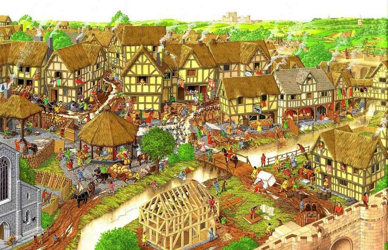Medieval clipart villager Ambrosius drawing medieval village village