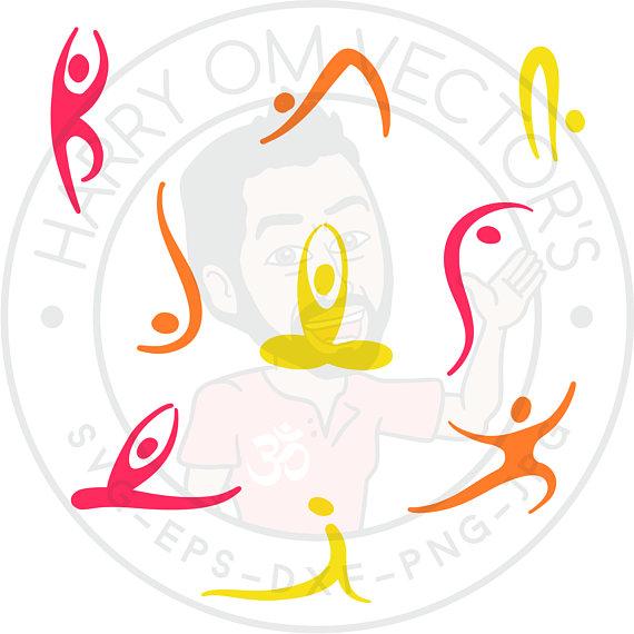 Meditation clipart abstract Cameo asana Yoga for Silhouettes