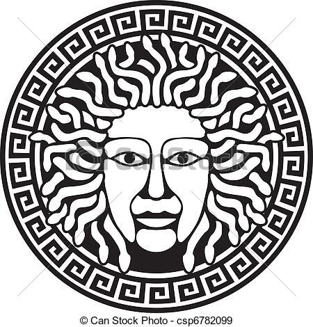 Medusa clipart black and white #2