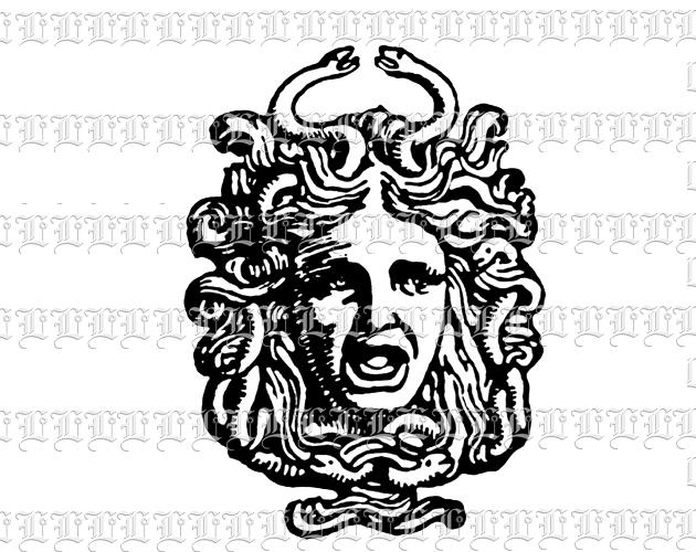 Medusa clipart black and white #4