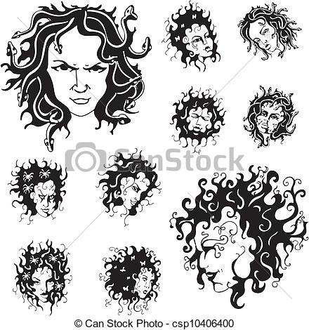 Medusa clipart black and white #7