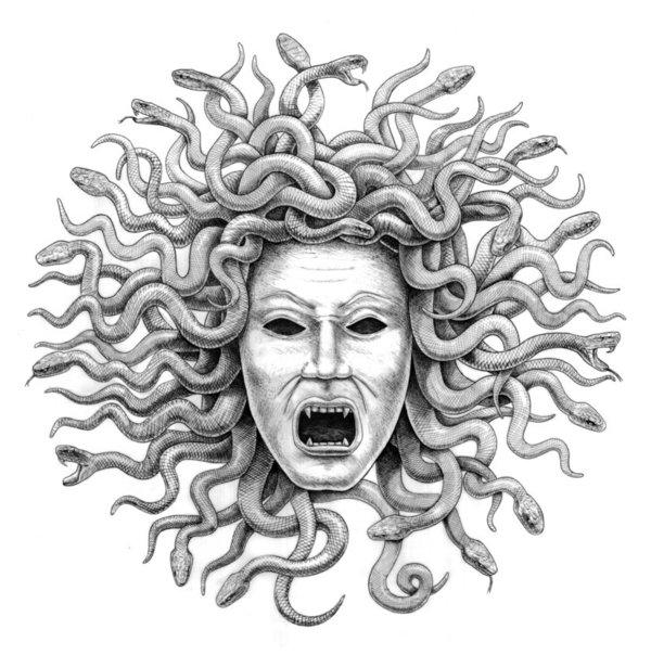 Medusa clipart black and white #8