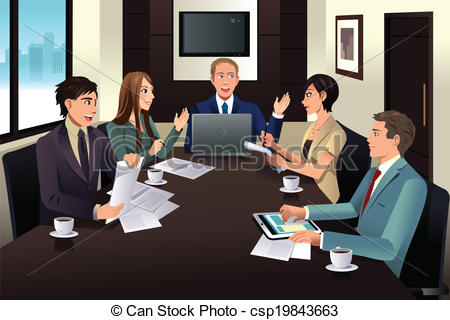 Office clipart business office Clip modern Business meeting team