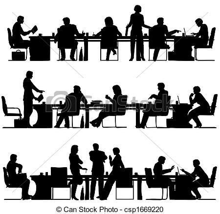 Meeting clipart silhouette Editable Business vector Clipart csp1669220