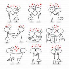 Kisses clipart stick figure Figure art love stickman Stick