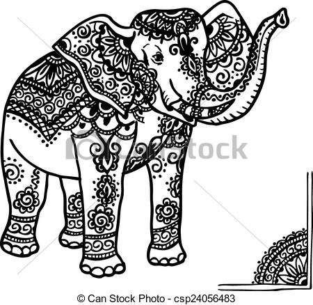 Asian Elephant clipart ornamental Mehendi a with clip