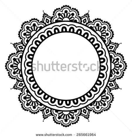 Mehndi clipart indian flower Henna Indian round pattern Mehndi