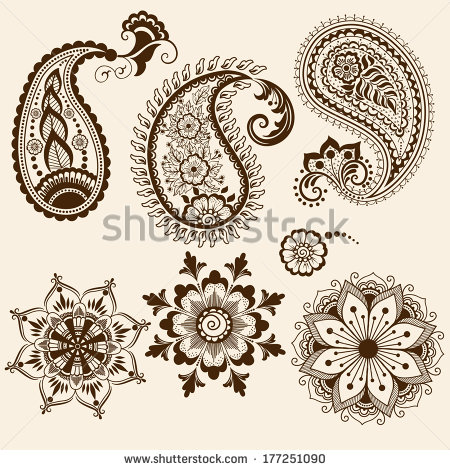 Mehndi clipart indian flower Illustration Indian floral elements in