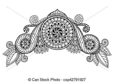 Mehndi clipart zentangle Background zentangle doodles vector