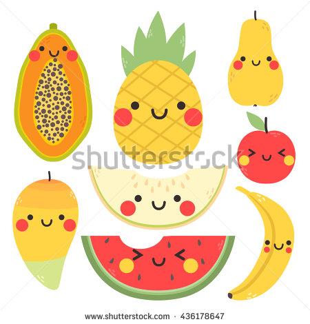 Papaya clipart face Face pineapple mango banana with