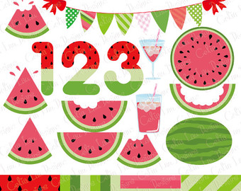 Watermelon clipart individual Bunting summer clipart fruit clipart