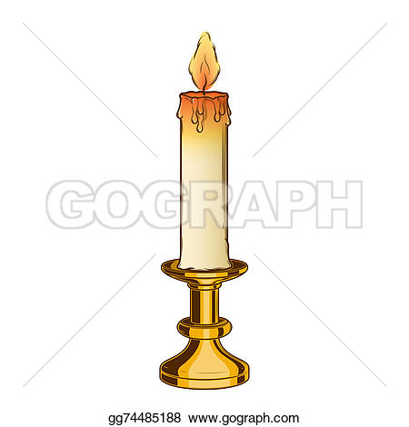 Melting Candle clipart candlestick And on candle and white