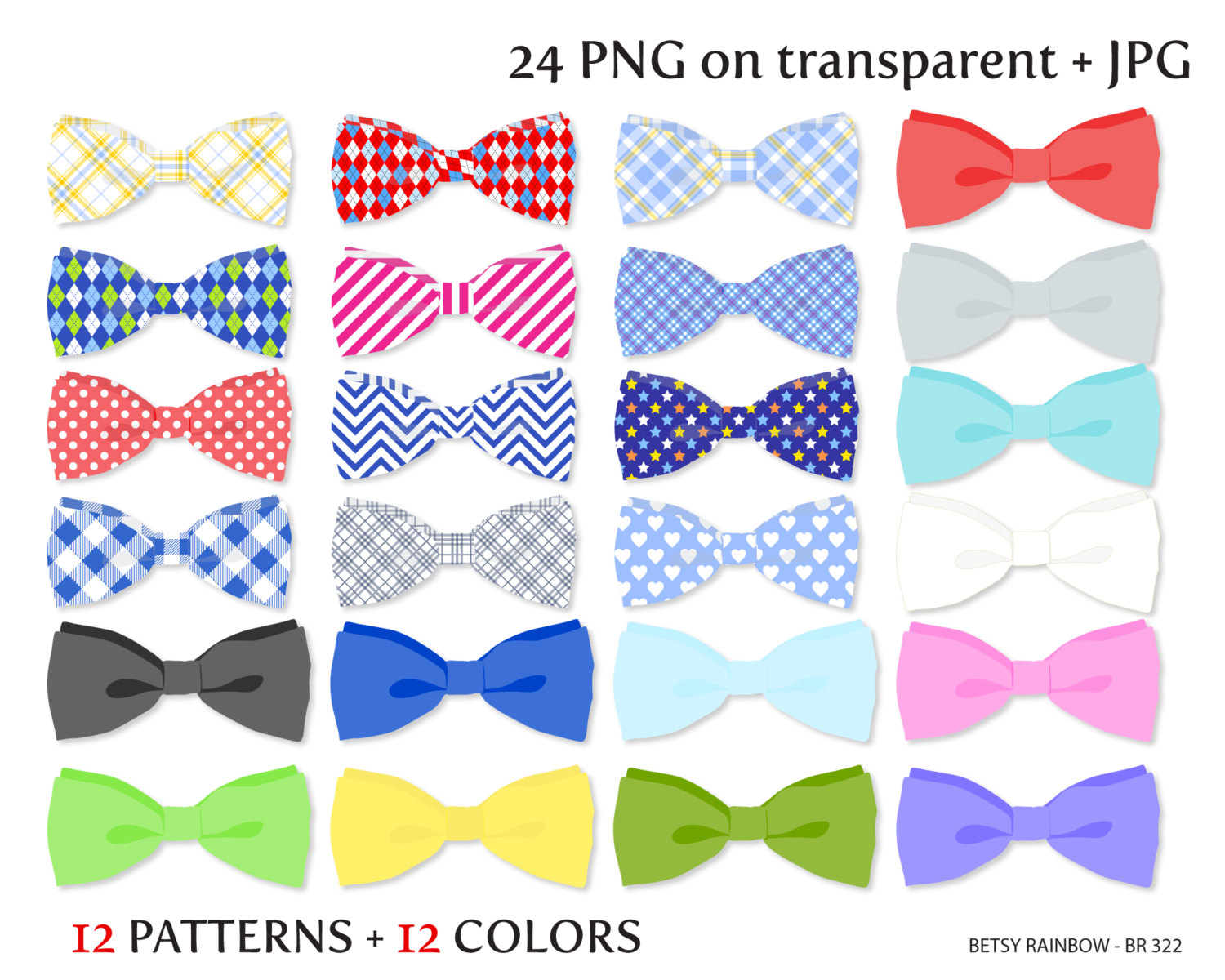 Bow Tie clipart preppy Bow and clipart Etsy Tie