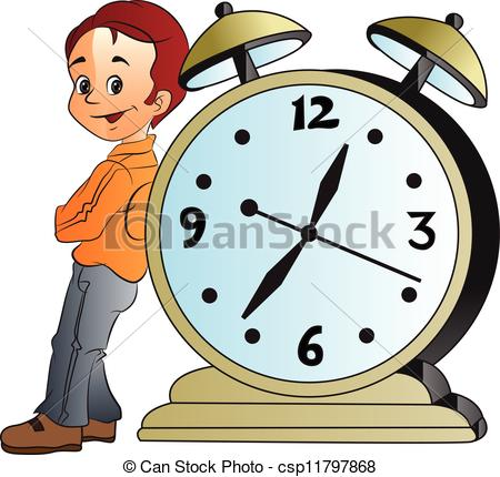 Men clipart clock Vector Leaning Man Giant on