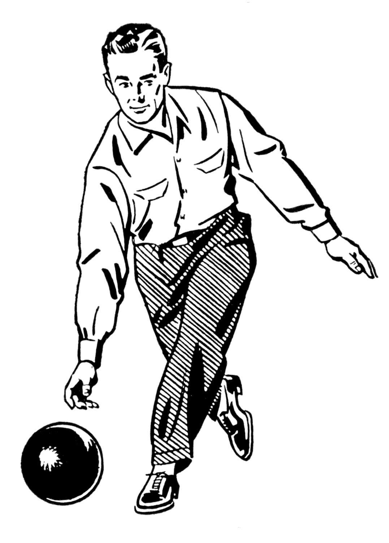 Men clipart retro Bowling and Man Man –