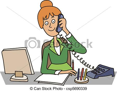 Men clipart secretary  table at office a