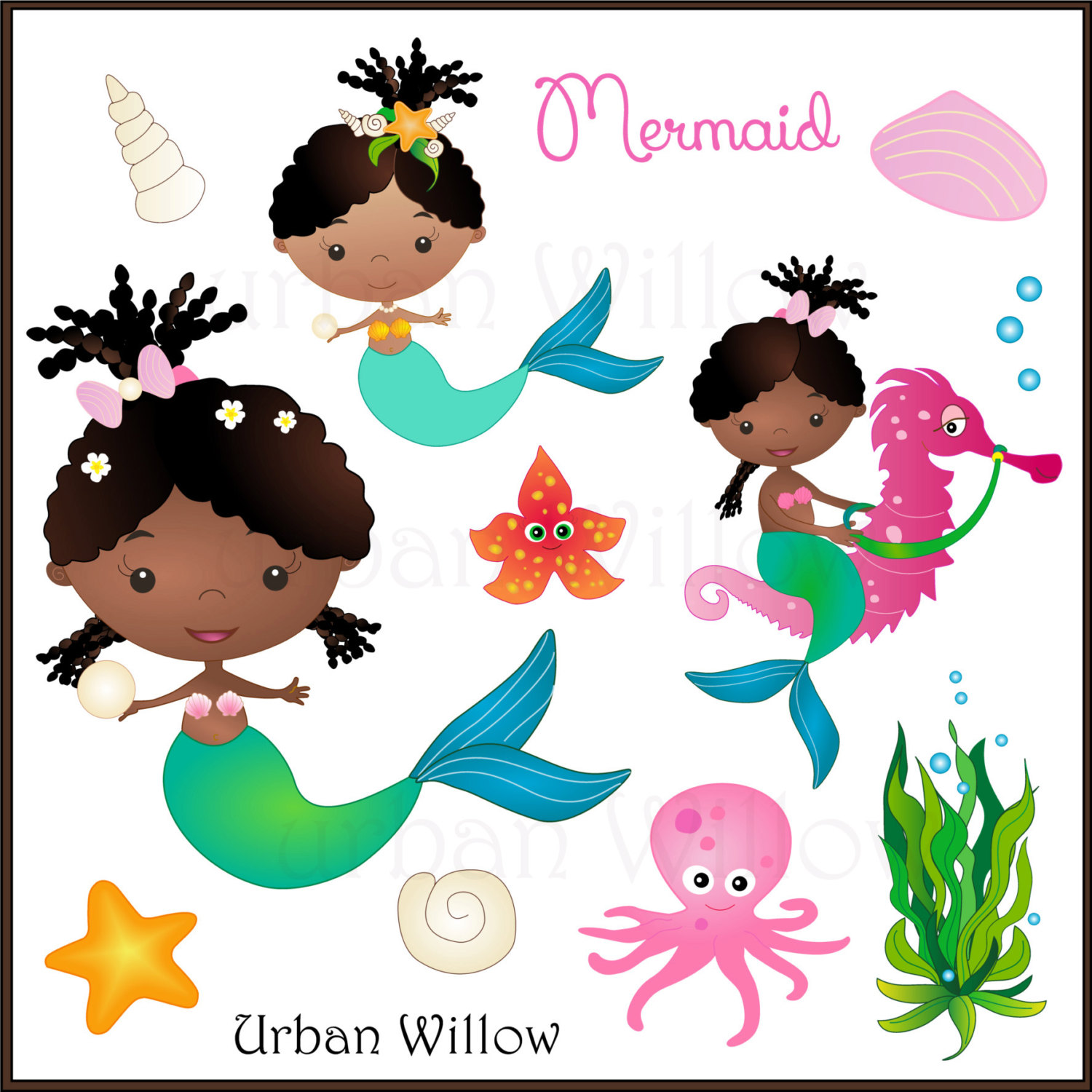 Brown clipart seahorse Cute file Mermaid African MERMAID