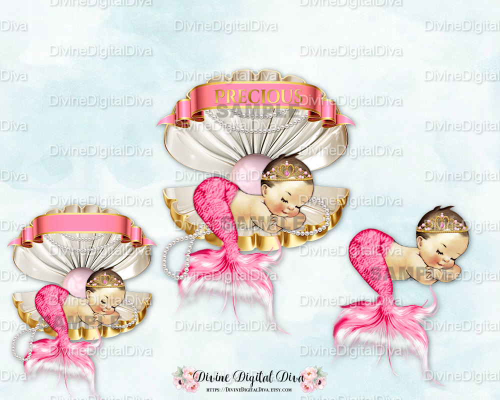 Clams clipart vintage Gold Mermaid Clam Pearls Pink