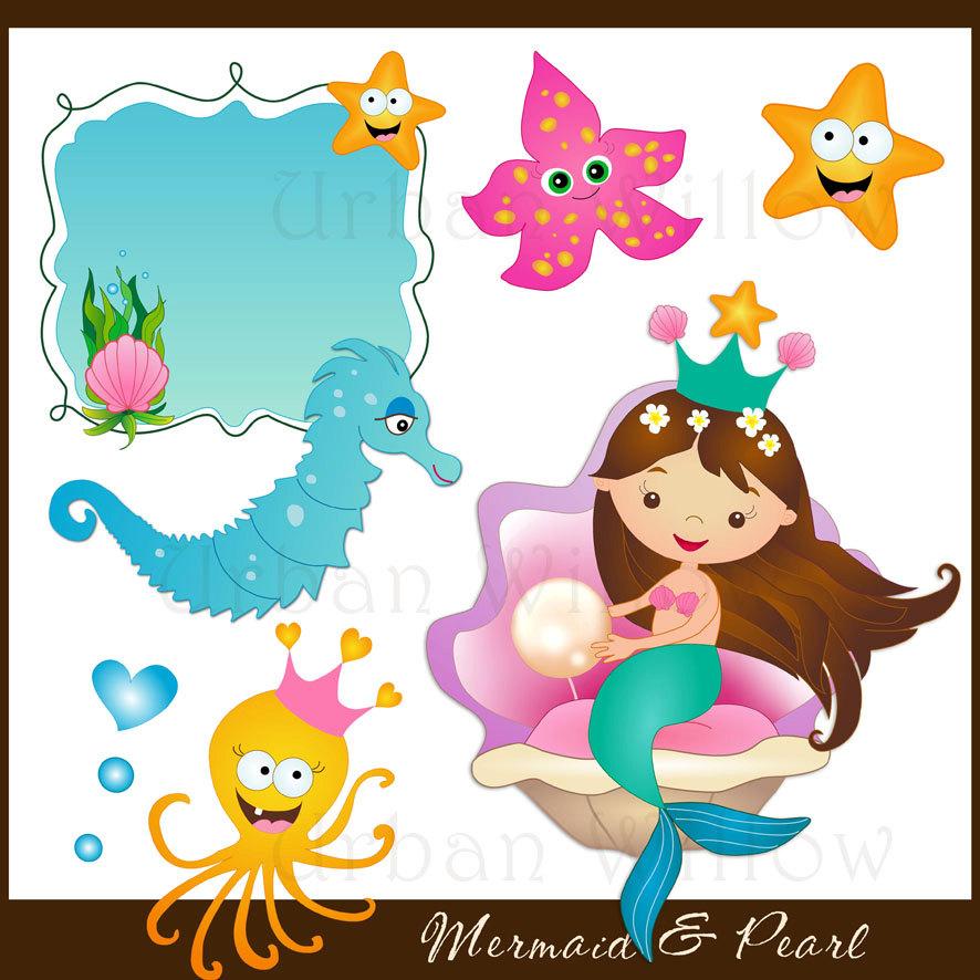 Mermaid clipart border Mermaid Starfish Mermaid clipart clam