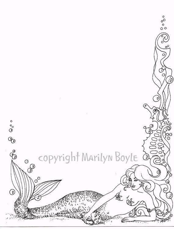 Mermaid clipart border Diseños on 436 Sirenas Background