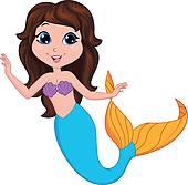 Brunette clipart mermaid Cartoon mermaid Mermaid Art Mermaid