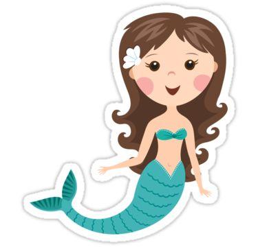 Brunette clipart mermaid Mermaid cute Resultado de vector