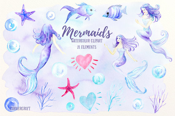 Mermaid clipart bubble Is art file  fish