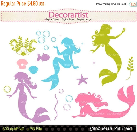 Mermaid clipart bubble ON Art Clip No digital
