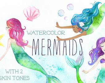 Mermaid clipart bubble Mermaids Watercolor Ocean Etsy clipart