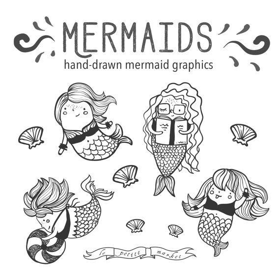 Mermaid clipart coloring book Pinterest clipart Printable Mermaid Art