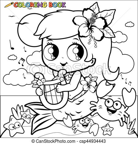 Mermaid clipart coloring book With the of white her