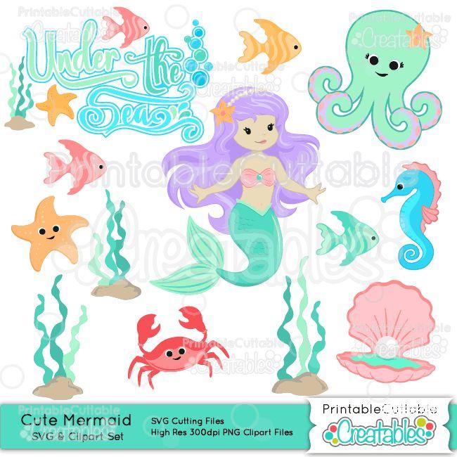 Mermaid clipart cute mermaid Embellishment SVG Cute on Files