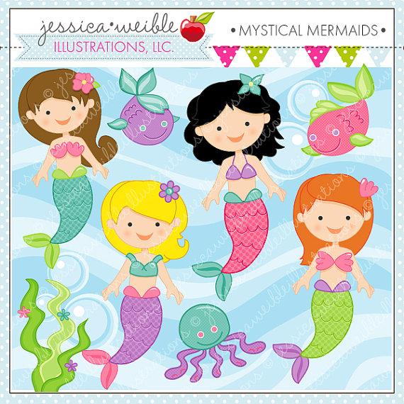 Mermaid clipart cute mermaid Cute Clipart Il_570xn Clip art