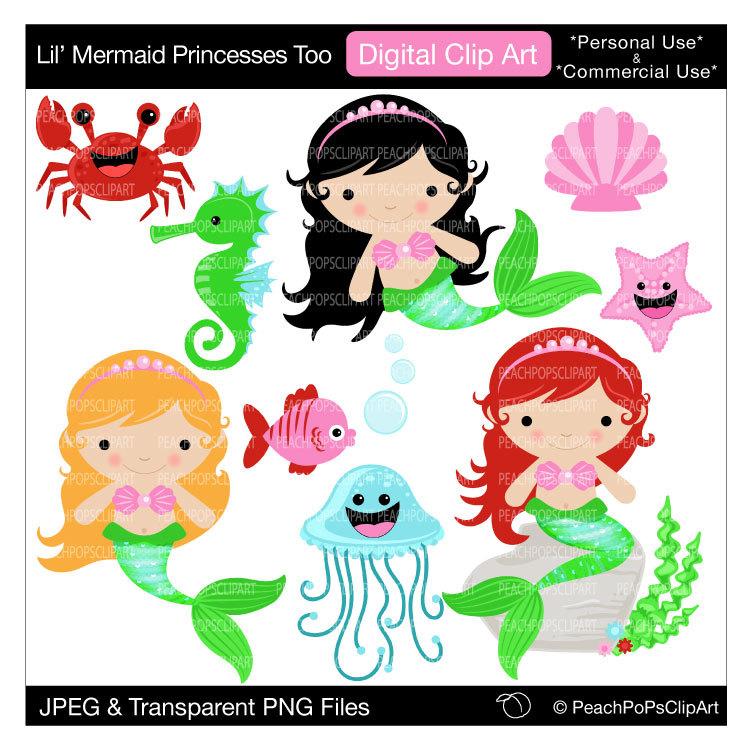 Mermaid clipart cute mermaid Digital art  cute clipart