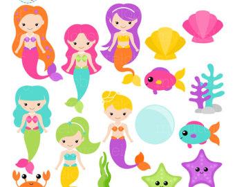Mermaid clipart cute mermaid Set art Colorful of mermaids
