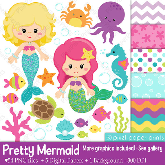 Mermaid clipart digital And Clipart paper and Clipart
