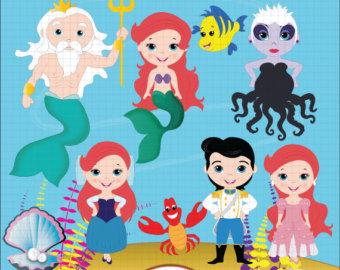 Mermaid clipart digital Mermaid Clipart Clipart Fairytale Little