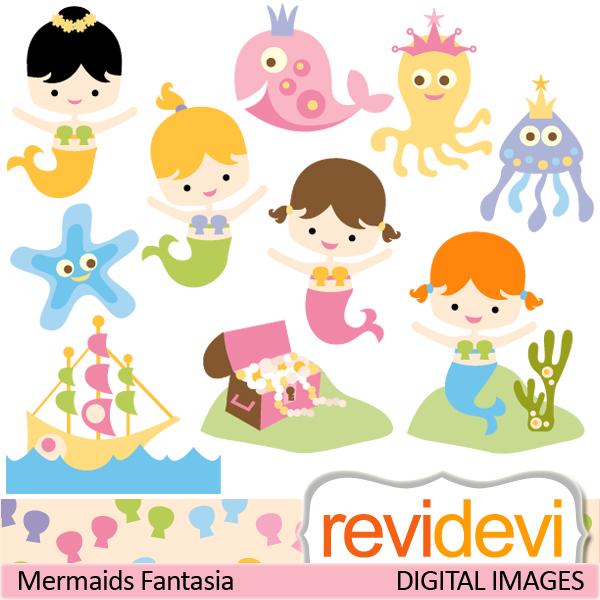 Mermaid clipart digital Cute Cliparts clipart Cute Cliparts