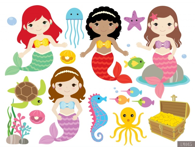Mermaid clipart digital Clipart Clipart Papers and Digital