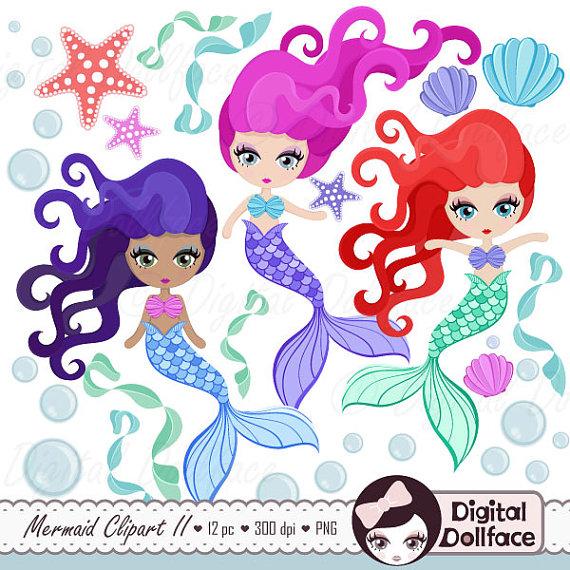 Mermaid clipart digital Clipart  Party Mermaid Il_570xn