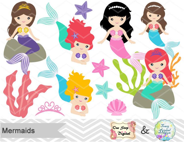 Brunette clipart mermaid Little Art  Clipart Mermaid