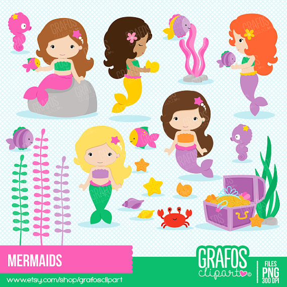 Mermaid clipart digital Set  Clipart Clipart from