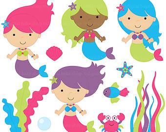 Mermaid clipart digital Clip stamps Mermaids clipart mermaid