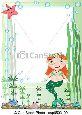 Mermaid clipart frame With Clip Frame Search mermaid