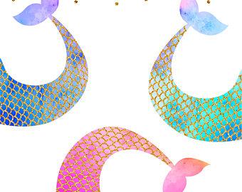 Mermaid clipart glitter Mermaid Download tail Digital Etsy