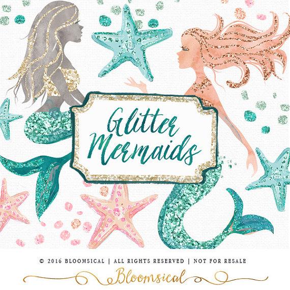 Mermaid clipart glitter Glitter Glam Cards Clip starfish