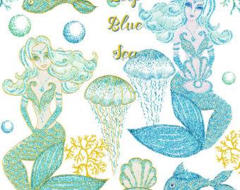 Mermaid clipart glitter Mermaid bubbles clipart clipart corals