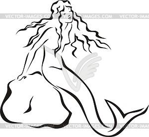 Mermaid clipart line drawing Mermaid Vintage Mermaid Clipart Voyage