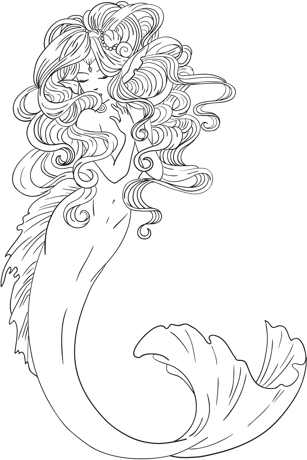 Mermaid clipart line drawing  Best art And and